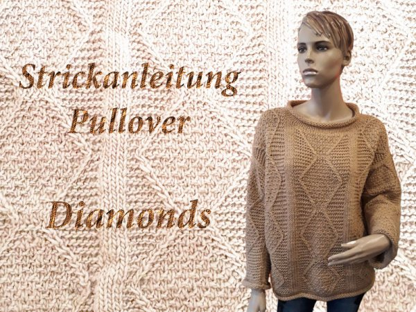 Strickanleitung Oversize Pullover Diamonds